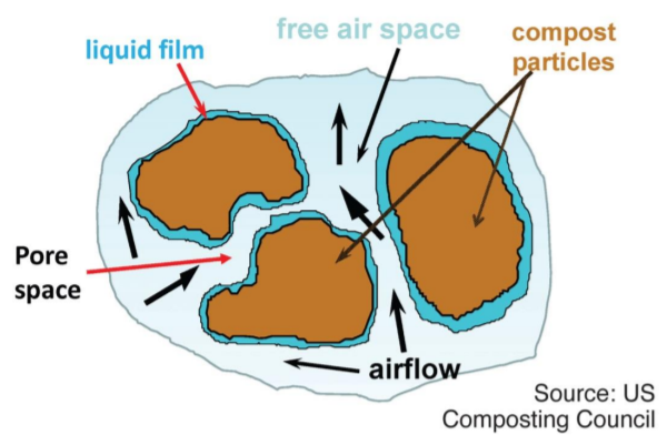 Aerobic bacteria that effect bio-oxidation exist in the liquid film surrounding the particles in a compost pile.